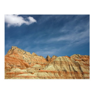 Badlands national park sandy color blue sky postcard