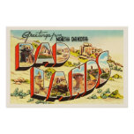 Badlands North Dakota ND Vintage Travel Souvenir Poster