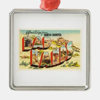 Badlands North Dakota ND Vintage Travel Souvenir Silver-Colored Square Ornament
