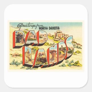 Badlands North Dakota ND Vintage Travel Souvenir Square Sticker