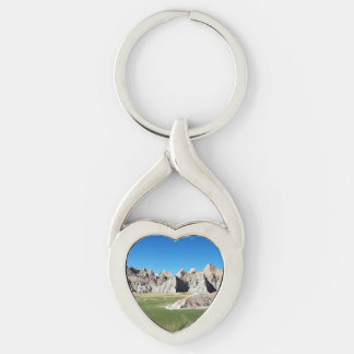 Badlands Silver-Colored Twisted Heart Keychain