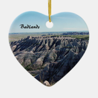 Badlands, South Dakota Ceramic Heart Ornament