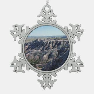 Badlands South Dakota Snowflake Pewter Christmas Ornament