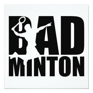 """Badminton 5.25"""" Square Invitation Card"""