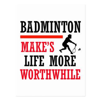 badminton design postcard