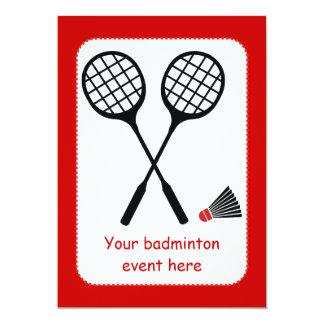 Badminton gifts, racquet and shuttlecock custom card