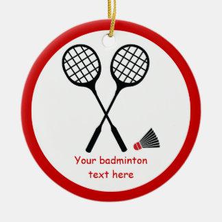 Badminton gifts, racquet and shuttlecock custom ceramic ornament