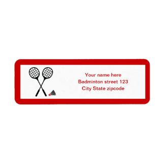 Badminton gifts, racquet and shuttlecock custom return address label