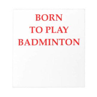 BADMINTON NOTEPAD