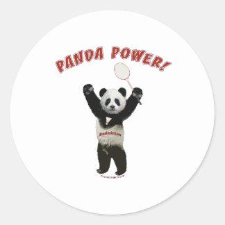 Badminton Panda Power Classic Round Sticker