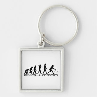 Badminton Player Racquet Sport Evolution Art Silver-Colored Square Keychain