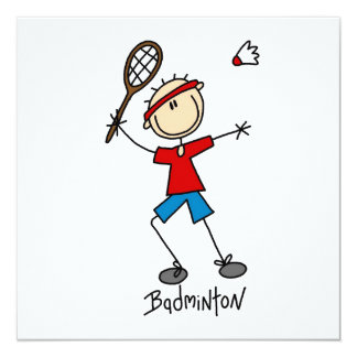 """Badminton Player T-shirts and Gifts 5.25"""" Square Invitation Card"""