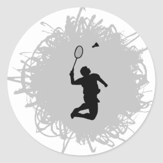Badminton Scribble Style Classic Round Sticker