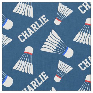 Badminton shuttlecock blue name pattern fabric