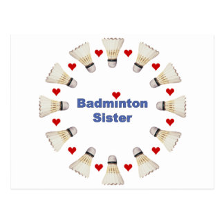 Badminton Sister Hearts Postcard