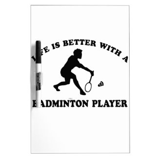 Badminton Sports Designs Dry Erase Board