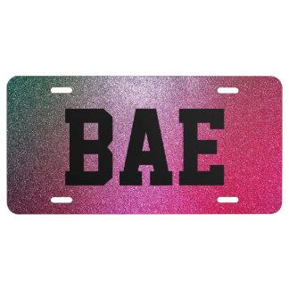 Bae Colorful Faux Glitter License Plate