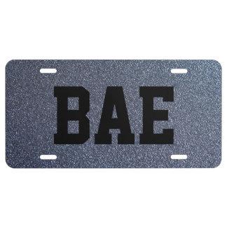 Bae Silver Faux Glitter License Plate