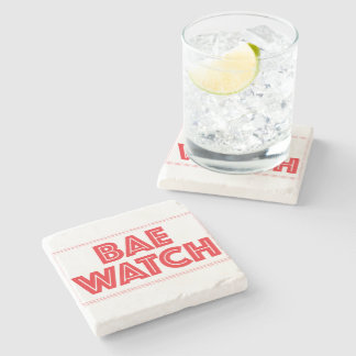 Bae watch funny bay watch movie reference stone coaster
