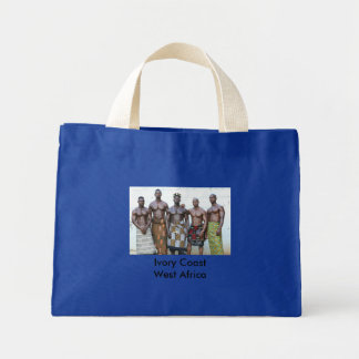 Bag, Blue, Ivory Coast, 5 Warriors Mini Tote Bag