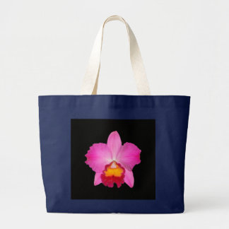 Bag, blue, pink cattleya on black, # 1781 copy large tote bag
