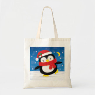 ♥ BAG ♥ Cute Christmas Penguin in snow red blue