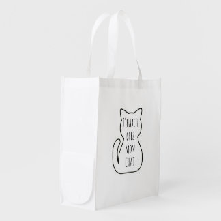 Bag in fabric: I live in my cat Grocery Bags