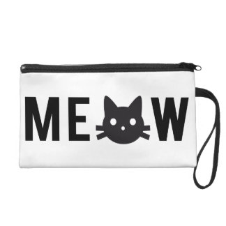 Bag Meow, with black cat face Wristlet Purses