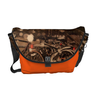 Bag - Messenger with bicycles in the snow. Courier Bag