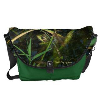 Bag - Messenger with mimetic green frog Commuter Bag