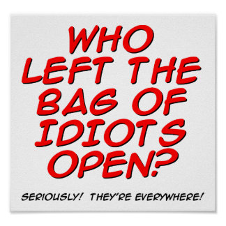 Bag of Idiots Funny Poster
