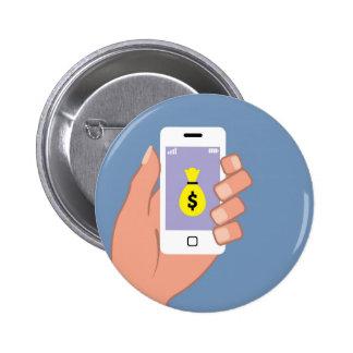 Bag of money Smartphone in Hand App 2 Inch Round Button
