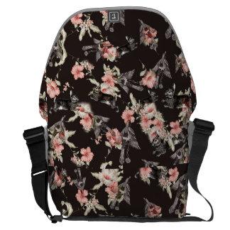 bag rabbit, birds and flowers_black messenger bag