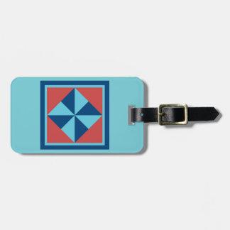 Bag Tag - Pinwheel (turquoise/red)