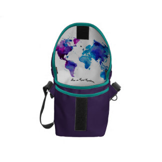 Bag with artsy map inside messenger bags