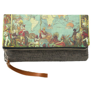 Bag with map design clutch
