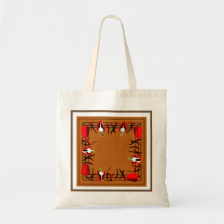 Bag with red peppers  and gray  border