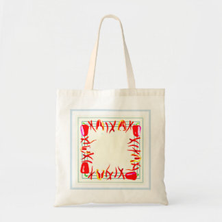 Bag with red peppers  and light background