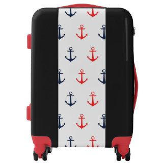 Bagage rouge et bleu nautique d'ancre valises