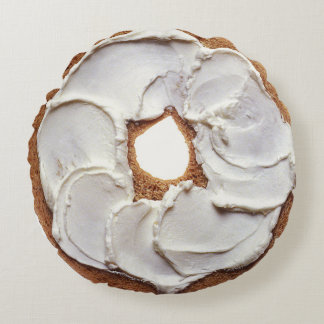 Bagel and Cream Cheese Round Pillow
