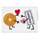 Bagel & Cream Cheese - Cute Valentine Love Hearts Greeting Card