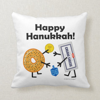 Bagel & Cream Cheese - Happy Hanukkah! Throw Pillow