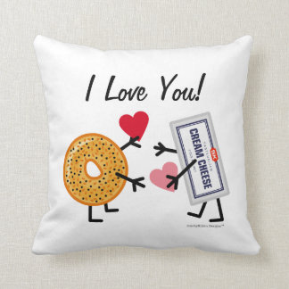 Bagel & Cream Cheese I Love You! Valentine Hearts Throw Pillow