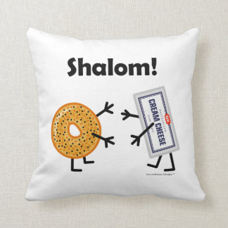 Bagel & Cream Cheese - Shalom! Throw Pillow