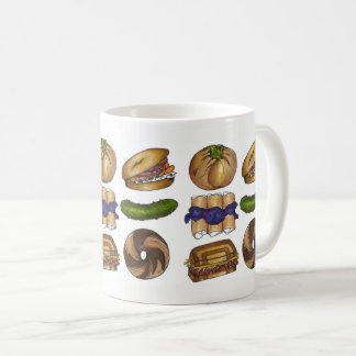 Bagel Pickle Knish Blintz Reuben Jewish Deli Food Coffee Mug