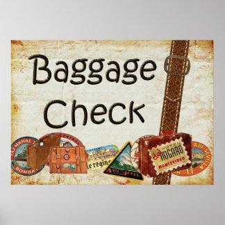 Baggage Check Sign Poster