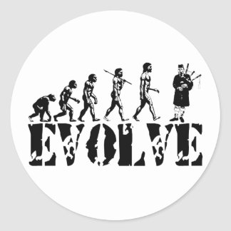 Bagpipe Pipers Bagpiper Musical Evolution Art Classic Round Sticker
