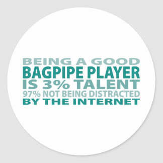Bagpipe Player 3% Talent Classic Round Sticker