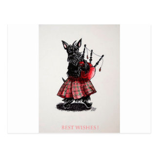 Bagpiper's best wishes postcard