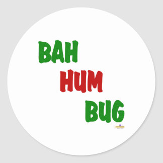 Bah Hum Bug Green Red Classic Round Sticker